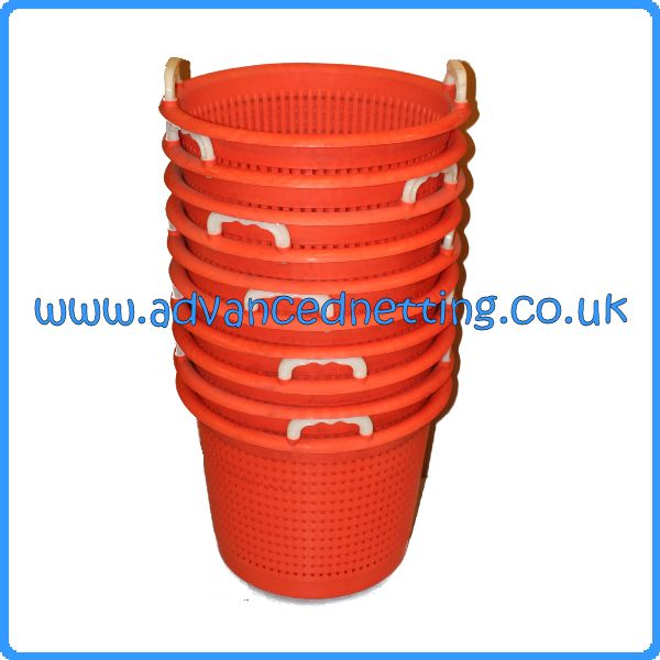 10 X Orange Plastic Fish Baskets
